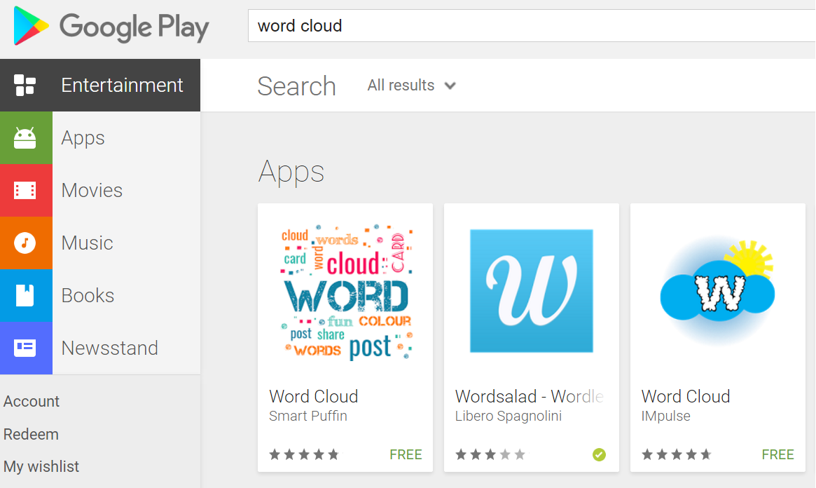 """Word Cloud"" search in Google Play returns my app first!"