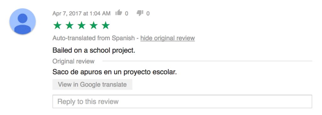 Google App Store review about how the app helped with the homework